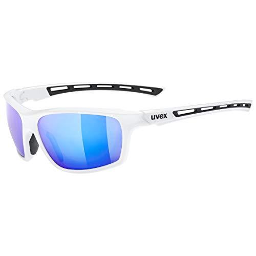 uvex Unisex– Erwachsene, sportstyle 229 Sportbrille, white/mirror blue, one size