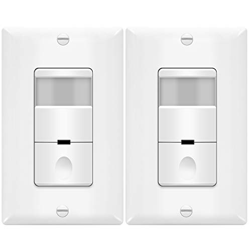 TOPGREENER TDOS5-W-2PCS Motion Detector Sensor Light Switch, Occupancy Vacancy Modes, 4A, 500W 1/8HP, Wall Plates Included, Neutral Wire Required, TDOS5, White, (Pack of 2)