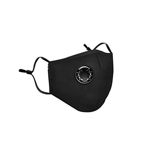 Kinple 4pcs Cotton Face Màsc Bandanas, 8 Replaced Filter for Children, with Breathing Valve, Washable/Reusable (Black)
