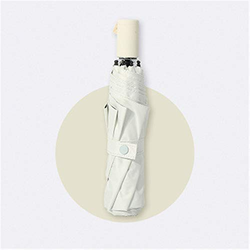 ZDAMN Paraguas de vinilo de doble propósito para sol y lluvia, de color sólido, 3 pliegues, paraguas ligero y compacto (color: blanco, tamaño: 55 x 8 k)
