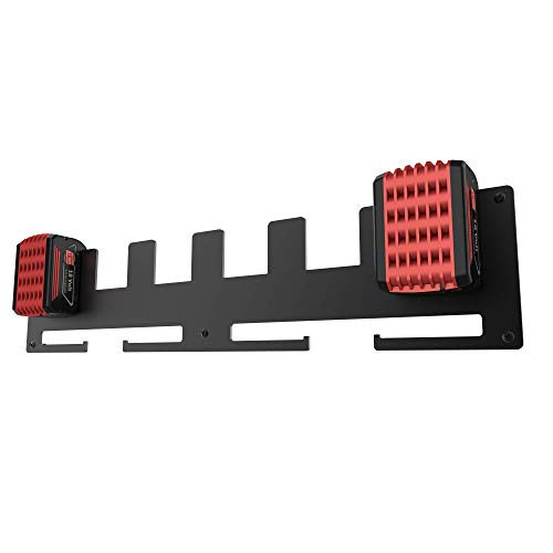 LICHTENWERK® Premium 6er Wandhalterung für Bosch Akkus aus massivem Stahl [MADE IN GERMANY] - Stabiler Bosch Akkuhalter für Ordnung in der Werkstatt und Auto mit Befestigungs-Set - Profi Anbringung
