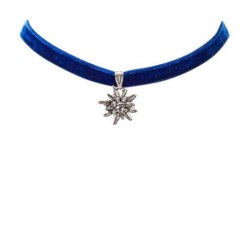 Trachtenkette Samt mit Strass-Edelweiß klein - Damen Samt-Kropfband enganliegend, Kropfkette elastisch, Dirndlkette schmal für Trachtenbluse und Lederhose, Dirndl-Schmuck fürs Oktoberfest (blau)