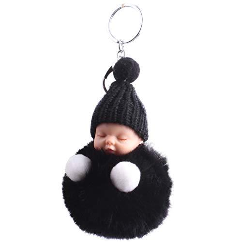 Xiang Ru Lindo bebé dormido bola de felpa Pom Pom llavero esponjoso llavero para bolso bolso negro