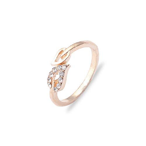 forbestest Las mujeres abren el anillo de la hoja de puño ajustable tamaño libre Rhinestones Anillos del corazón Parejas Weddingn Anillos de oro 2.06cm (Golden)
