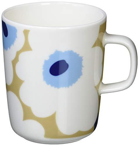 Marimekko - UNIKKO MUG - Henkelbecher - Kaffeebecher - Steingut - 250 ml - beige, off white, blue / beige, naturweiß, blau
