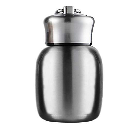 Mini termos,6.8oz de agua de acero inoxidable aislada al vacío, botellas de agua a prueba de fugas, termo para mantener caliente y fría para el hogar al aire libre viajes talla única plata