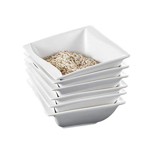 MALACASA, Serie Carina, 6 TLG. Set Cremeweiß Porzellan 5,25 Zoll / 13,5 * 13,5 * 5,5cm Schüssel Schalen Müslischüssel Reisschüssel Salatschüsseln Dessertschalen Bowl für 6 Personen