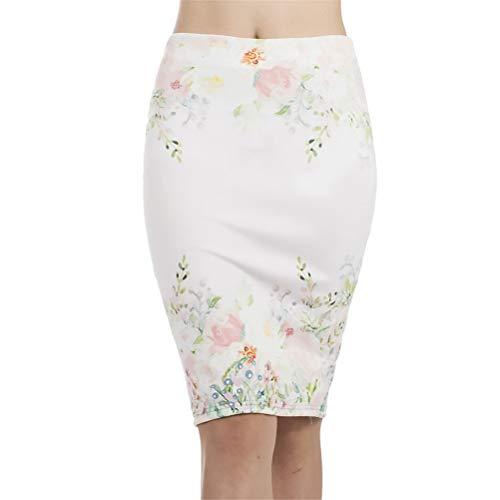 Vrouwen Korte rok Bodycon potlood bedrukking De bloemen die te modieuze hoge taille elegante knieën gespleten worden