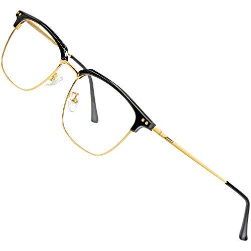 occhiali antiaffaticamento uomo ATTCL Occhiali Luce Blu Uomo Donna Antiaffaticamento Antiriflesso Gaming Computer Occhiali Anti Luce Blu BL8001 Black+gold