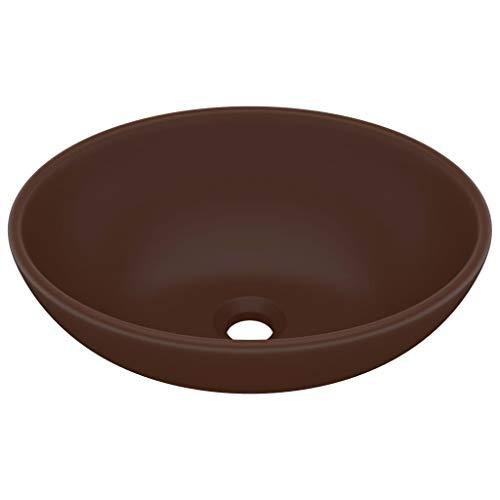 vidaXL Lavabo de Lujo Ovalado Tocador Montado Encima Piedra Vasija Aseo Indoro Cocina Garaje Fácil de Limpiar Cerámica Marrón Oscuro Mate 40x33 cm
