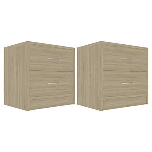Tidyard Bedside Cabinets Set of 2 pcs   2 Drawer Bedroom Night Stand   Side Table Storage Unit   Sonoma Oak 40x30x40 cm Chipboard