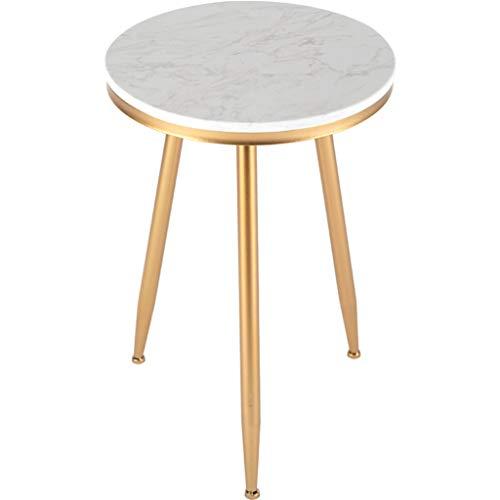 Mesa auxiliar redonda de mármol, mesa auxiliar de tres patas de hierro forjado, balcón, dormitorio de sala de estar, color dorado