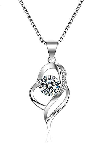ZPPYMXGZ Co.,ltd Necklace Silver Pendant Necklace for Women Fashion Jewelry Comes with Gift Box Holiday Or Birthday Present for Women and Girls-Simple and Strong Love