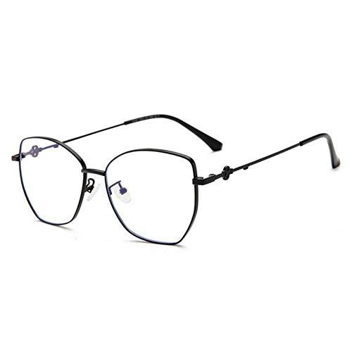 NJKJ Anteojos Gafas Graduadas Con Lente Poligonal Para Miopía Con Bloqueo De Luz Azul Gafas Miopes De Metal Para Mujer 0-0.5 -0.75 A -6.0-Black_Custom_Prescription