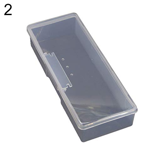 dljztrade Nail Art Storage Box Plastic Transparent Nail Supplies Brush Kit Container Organizer Case blanc