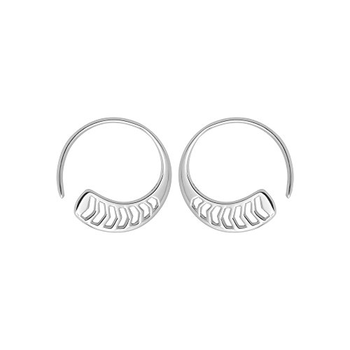 Boma Jewelry Sterling Silver Polished Chevron Pull Through Fashion Hoop Earrings