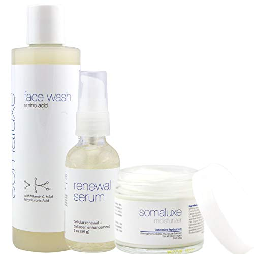 Collagen Facial Kit - Amino Acid Wash, Renewal Serum and Collagen Moisturizer with Hyaluronic Acid