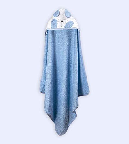 Ti TIN baby badjas met capuchon van 100% katoen, zachte en absorberende capuchon met hazenoren in lichtblauw, 100x10 cm (badstof stof)