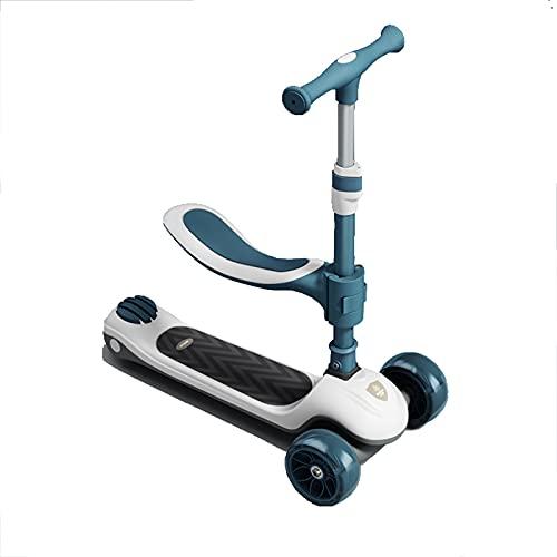 PTHZ 3 Scooter con Ruedas para niños, patear Scooter con Asiento extraíble, niños pequeños o Chicos de Altura Ajustable, led Wheels Scooter con Freno para niños de 2 a 10 años,Azul