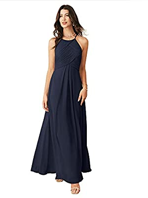 Alicepub Chiffon Dark Navy Bridesmaid Dresses Long Formal Party Dress for Women Prom Evening Halter, US8