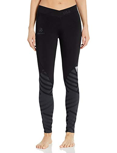 adidas Damen Usa Volleyball Alphaskin Long Tight Hosen, Black/Carbon, Large