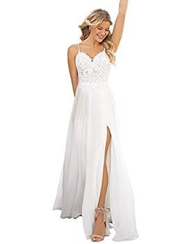 WaterDress Women s Spaghetti Straps Simple Wedding Dresses for Bride 2021 Lace Chiffon Split Beach Wedding Gowns White 10