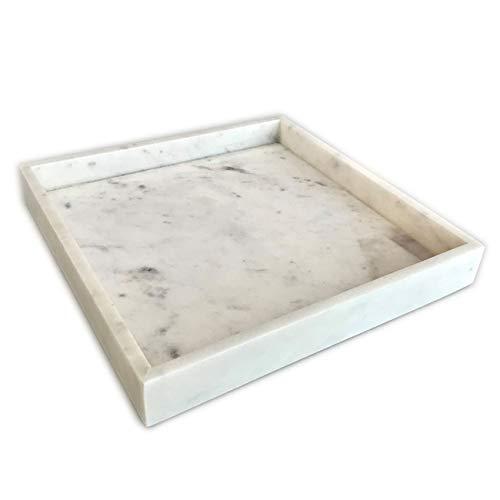 Adorist Marmortablett – Tablett aus weissem Marmor – Marble Tray – Dekotablett - Serviertablett - quadratisch – Marmoroptik - weiß - 30x30x4cm Weiss