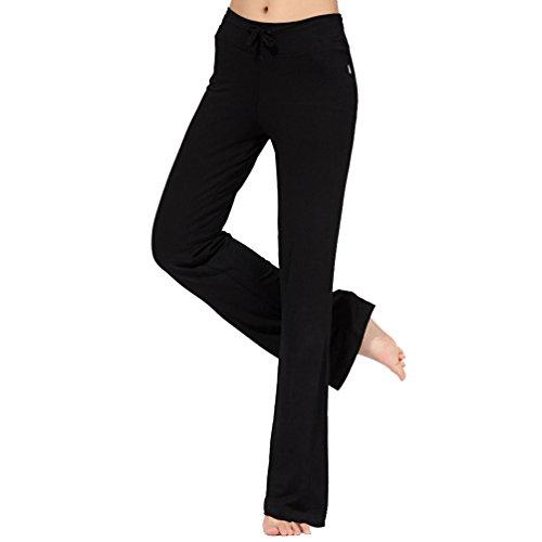 Cayuan Pantaloni Palazzo Donna Comodi Pantalone Largo a Vita Alta con Coulisse Yoga Pilates Casuale Pigiama Pantaloni Femminile Nero
