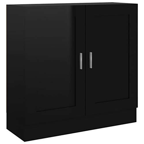 vidaXL Armario de Libros Estante Estantería Soporte Almacenamiento Muebles Decoración Oficina Estudio Aglomerado Negro Brillante 82,5x30,5x80 cm