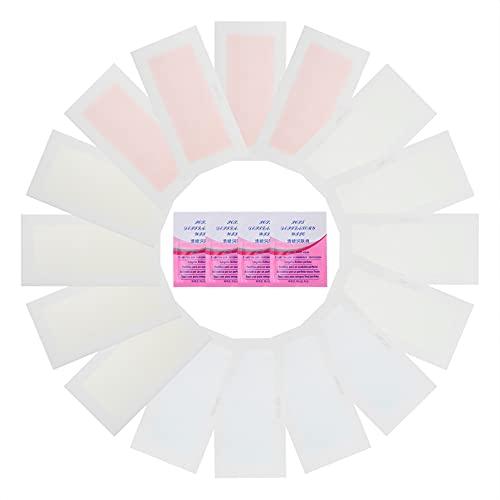 Minkissy 16 Piezas de Papel Encerado de Doble Tiras de Cera para El Cuerpo Papel Depilatorio de Cera con 4 Tejidos Húmedos para Mujeres Y Hombres