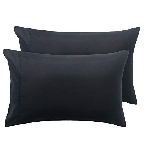 Bedsure Fundas Almohadas 75 cm - Juego de 2 Funda Almohada 50x75, Transpirable Suave Antiarrugas de Microfibra, 50x70 Color Negro, sin Cremallera