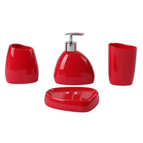 Frcolor - Juego de accesorios de baño de acrílico 4 piezas distribuidor de jabón líquido porta cepillo de dientes Tumbler jaracuone taza jabonera, reabastecimiento del baño de casa (rojo)