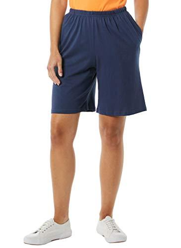 AmeriMark Women's Cotton Shorts - Elastic Waist Lightweight Casual Summer Shorts Navy MD