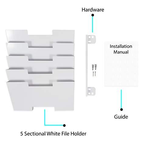 Wallniture Lisbon Wall Mount Steel Vertical File Organizer Holder Rack 5 Sectional Modular Design Multi-Purpose Organize Display Magazines Sort Files and Folders (White)