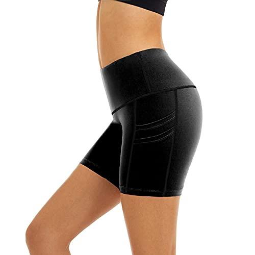 Correr pantalones cortos para las mujeres verano cintura alta deportes color sólido pantalones cortos con, Negro, XL