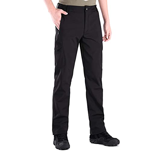 FREE SOLDIER Pantaloni da Lavoro Uomo Pantaloni Sci Termici Pantaloni Trekking Impermeabile Invernali Pantaloni da Caccia Militari Tattici Pantaloni da Neve Softshell Foderati in Pile (Nero,48 Lungo)