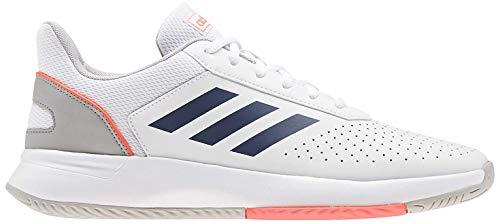 Adidas COURTSMASH, Zapatos de Tenis Hombre, FTWR White/Tech Indigo/Signal Coral, 44 2/3 EU