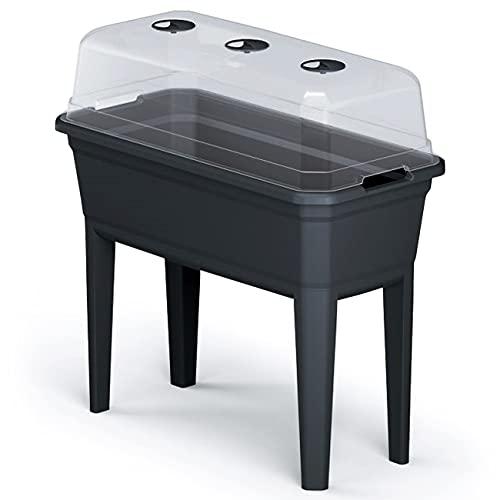 Prosperplast Hochbeet mit Abdeckung Respan Ecoline aus Kunststoff anthrazit 74,9 (L) x 36,8 (B) x 77,7 (H) cm