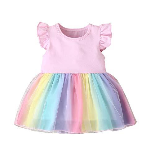 Julhold Toddler Baby Girls Tulle Dress Rainbow Ruffle Clothes Sleeveless...