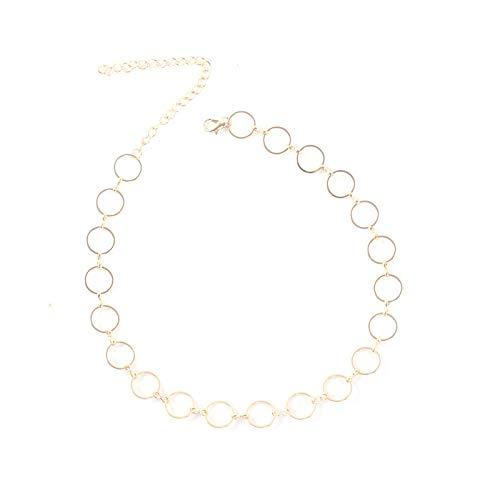 AZEWE Collar redondo chapado en oro para mujer con colgante grabado de números romanos, con cadena ajustable para mujer y niña