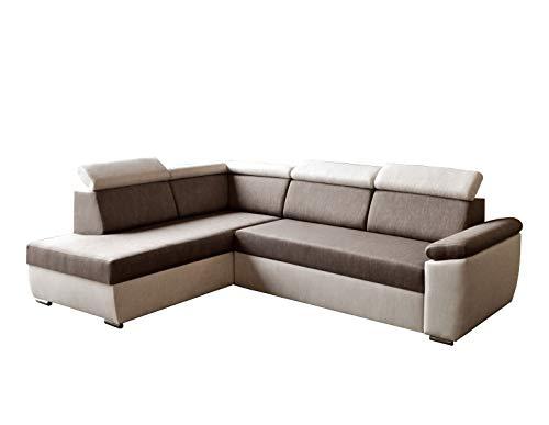 Ecksofa Sofa Eckcouch Couch mit Schlaffunktion und Bettkasten Ottomane L-Form Schlafsofa Bettsofa Polstergarnitur - MODENA (Ecksofa Links, Braun)