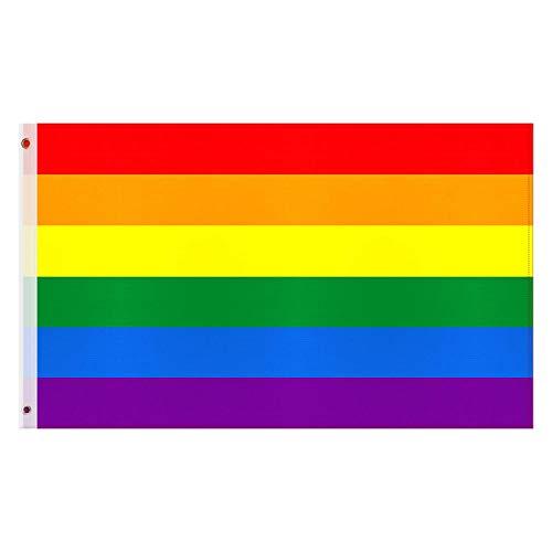 Esportic Drapeau Arc en Ciel - LGBT Gay Pride Drapeau, 90 x150 cm Banderoles de La Fierté Gaie, Intérieur ou extérieur Peace Drapeau Rainbow LGBT Gay Pride Festival Diversity Celebration
