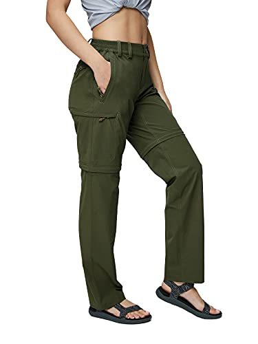 MIER Women's Convertible Hiking Pants Lightweight Stretch Outdoor Pants with 6 Pockets, Quick Dry and Water Resistant, Army Green, 10