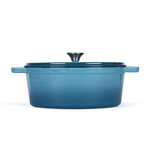LIVOO MEP129B - Cazuela ovalada de hierro fundido esmaltada - Cacerola con tapa para horno - inducción apta para horno hasta 250 grados - Olla de 4,5 litros - 29 cm - Azul