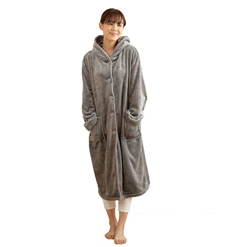mofua (モフア) 着る毛布 プレミアムマイクロファイバー ルームウェア フード付き 着丈110cm グレー 48476413