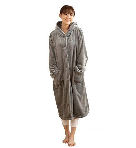 mofua ( モフア ) 着る毛布 プレミアムマイクロファイバー ルームウェア フード付き 着丈110cm グレー 48476413