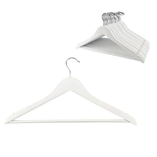 D.RECT Kleiderbügel aus Holz, für Anzüge, 20er Set, Jackenbügel aus Massivholz, Einkerbungen im Schulterbereich, Jacken, Hemden, Hosen, um 360° drehbarer Haken, Weiß