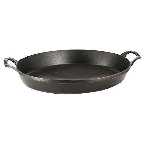 STAUB Cast Iron Oval Baking Dish, 14.5x11.2-inch, Matte Black