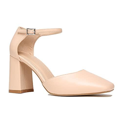 La Modeuse – Zapatos de piel sintética abiertos en los lados, Beige (beige), 39 EU