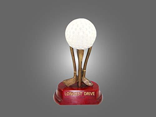 Henecka ⛳️ Golf-Pokal, Resin-Figur Golfball & Schläger -Longest Drive-, Golf Trophäe, weiß-altgold & Sockel DKL.rot, mit Wunschgravur